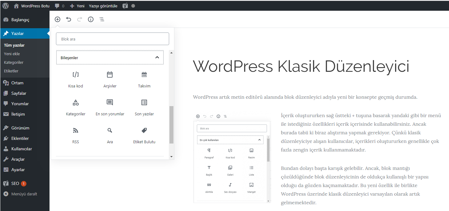 WordPress Klasik Düzenleyici